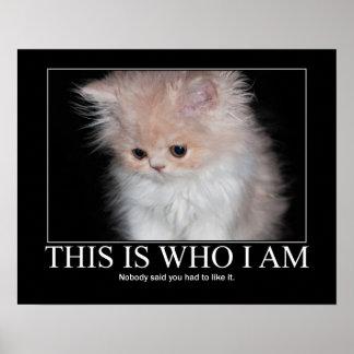 Éste es quién soy ilustraciones del gatito póster