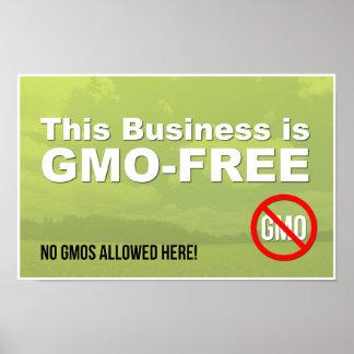 Este negocio es muestra GMO-Libre de la ventana Póster