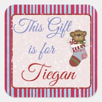 Este regalo está para la etiqueta azul y roja del