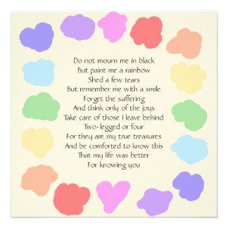 Estela adaptable/monumento -- Poema del arco iris Invitaciones Personalizada