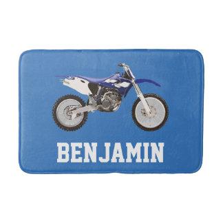 Estera de baño azul del nombre de la bici de la