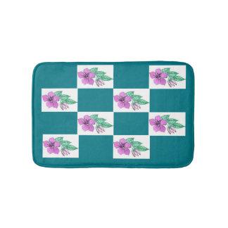 Estera de baño floral del rosa y del verde pequeña