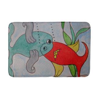 Estera de baño media de encargo w/fish alfombrilla de baño