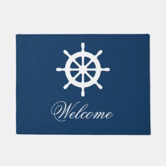 Estera de encargo náutica del azul marino y blanca
