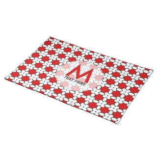 Estera de lugar blanca roja del monograma del
