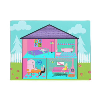 Estera de puerta viva retra del Dollhouse