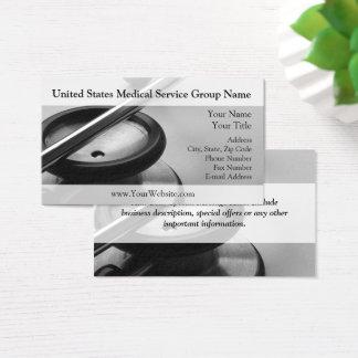 Estetoscopio médico, blanco y negro tarjeta de visita