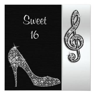 Estilete de plata y cumpleaños agudo del dulce 16 invitación 13,3 cm x 13,3cm