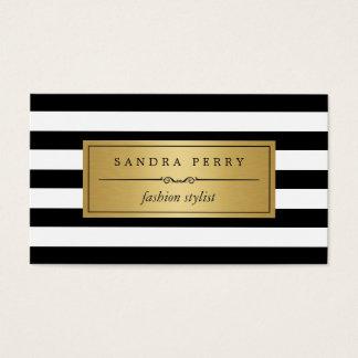 Estilista de la moda - rayas blancas negras tarjeta de negocios