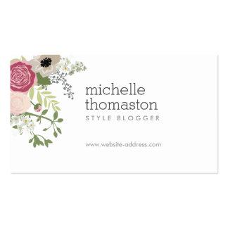 Estilista elegante del ramo floral II, Blogger Tarjetas De Visita