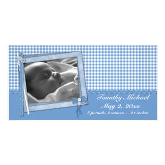 Estilo azul del pedazo de la guinga tarjeta fotográfica personalizada
