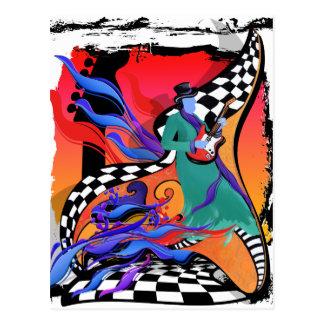 Estilo colorido del arte pop del músico del postal