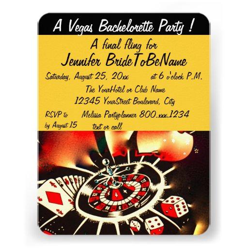 Estilo de Las Vegas del fiesta de Bachelorette Invitación