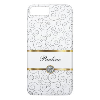 Estilo de lujo de Bling del monograma Funda iPhone 7 Plus