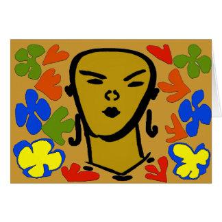 Estilo de Matisse de la cara de la mujer Tarjeta De Felicitación