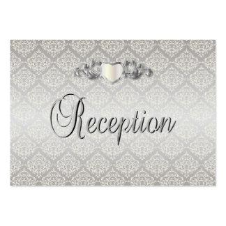 Estilo de plata elegante del damasco que casa 1 tarjetas de visita grandes