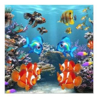 Estilo de Sealife del acuario Invitación 13,3 Cm X 13,3cm