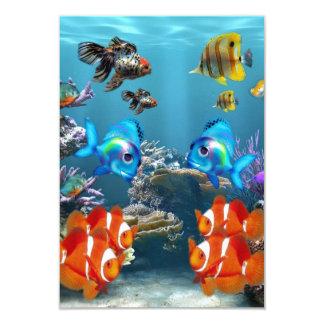 Estilo de Sealife del acuario Invitación 8,9 X 12,7 Cm