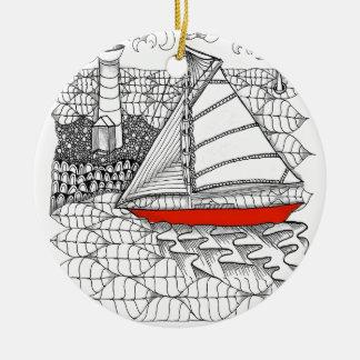 Estilo de Zentangle del rezo de los marineros de Ornamento Para Arbol De Navidad