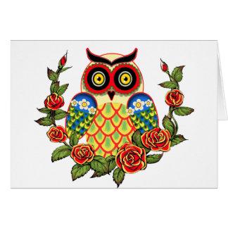 Estilo del búho y del mexicano de los rosas tarjeta de felicitación