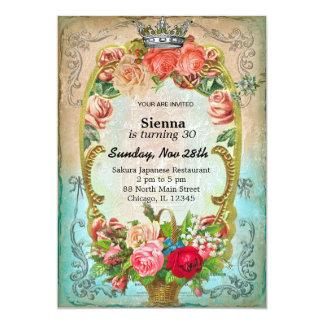 Estilo del cumpleaños del vintage invitación personalizada