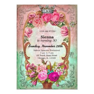 Estilo del cumpleaños del vintage invitación 12,7 x 17,8 cm