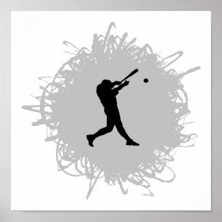 Estilo del garabato del béisbol póster