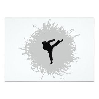 Estilo del garabato del karate invitación 12,7 x 17,8 cm
