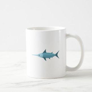 Estilo del primitivo de los peces espadas taza de café