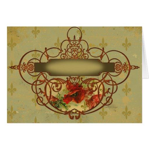 Estilo del Victorian de la flor de lis de las Tarjeta De Felicitación
