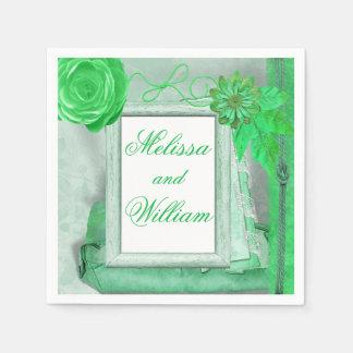Estilo elegante lamentable verde servilleta de papel