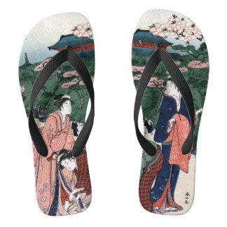 Estilo japonés del vintage del arte chanclas