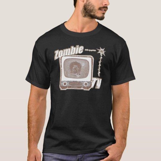 Estilo retro 2 del zombi TV rojo y blanco Camiseta