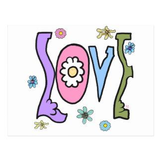 "Estilo retro 60s/70s: Postal del ""amor"" del flower"