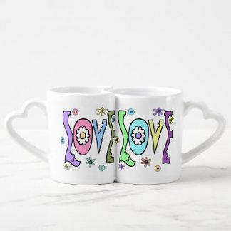 Estilo retro 60s/70s: Sistema doble de la taza del Taza Para Enamorados
