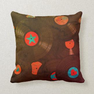 Estilo retro del Grunge del vintage de los discos Cojín Decorativo