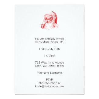 Estilo retro Santa de la prensa de copiar con el Invitación 10,8 X 13,9 Cm