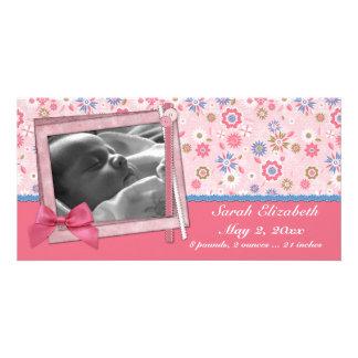 Estilo rosado del pedazo de las flores plantilla para tarjeta de foto