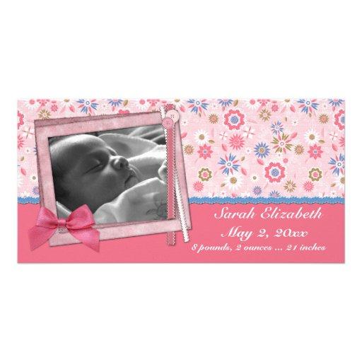 Estilo rosado del pedazo de las flores tarjetas fotograficas