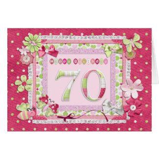 estilo scrapbooking del 70.o cumpleaños tarjeta de felicitación