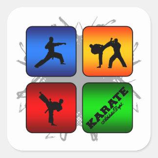 Estilo urbano del karate asombroso pegatina cuadrada