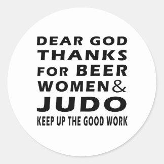 Estimadas gracias de dios por mujeres y judo de la pegatina redonda