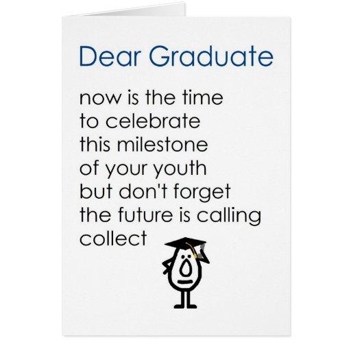 Estimado graduado - un poema divertido de la gradu felicitación