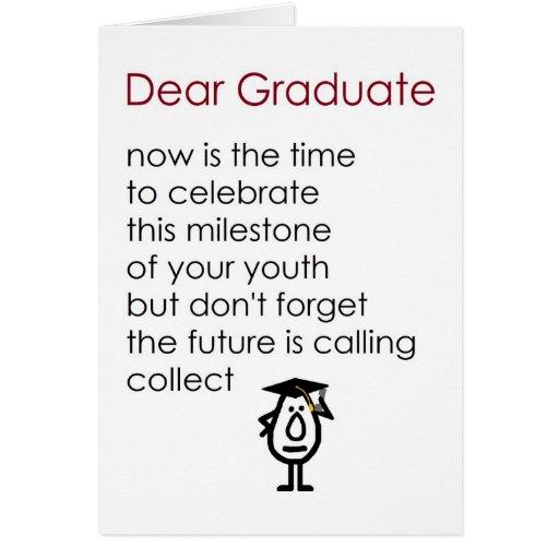 Estimado graduado - un poema divertido de la gradu felicitacion