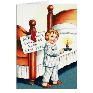 Estimado Santa seré buena tarjeta de Navidad del