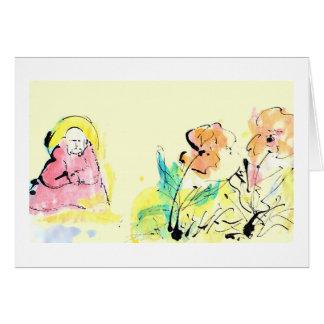 Estímulo, amistad, tarjeta de la meditación