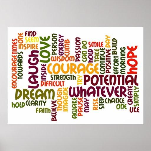 Estímulo de motivación del positivo de las palabra impresiones