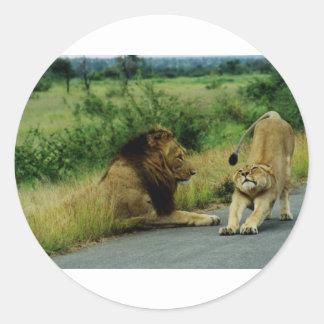 Estiramiento de la leona etiquetas redondas