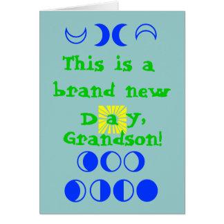 Esto es un día a estrenar, nieto tarjeta de felicitación