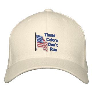 Estos colores no corren la bandera patriótica gorras bordadas
